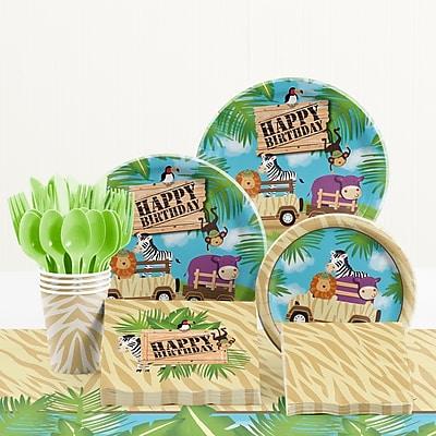 Creative Converting 81 Piece Safari Adventure Birthday Paper/Plastic Tableware Set WYF078281158253