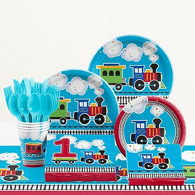 Creative Converting 81 Piece All Aboard 1st Birthday Paper/Plastic Tableware Set WYF078281158263