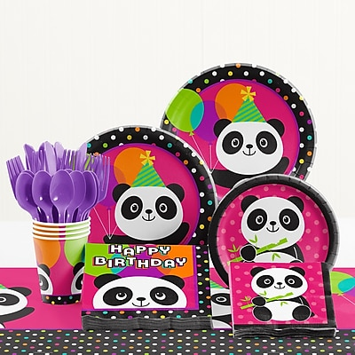 Creative Converting 81 Piece Panda-Monium Birthday Paper/Plastic Tableware Set WYF078281158277