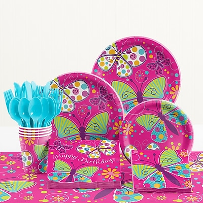 Creative Converting 81 Piece Butterfly Sparkle Birthday Paper/Plastic Tableware Set WYF078281158279