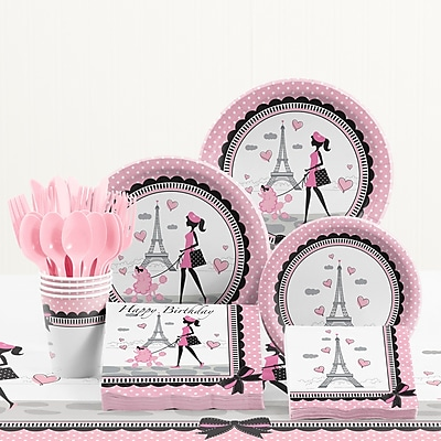 Creative Converting 81 Piece Party in Paris Birthday Paper/Plastic Tableware Set