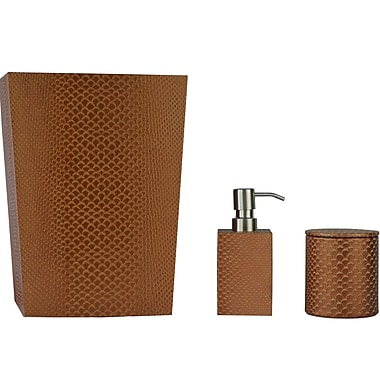 Brayden Studio Virginia Genuine Leather 3 Piece Mini Bathroom Accessory Set