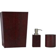Brayden Studio Josie Genuine Leather 3 Piece Mini Bathroom Accessory Set
