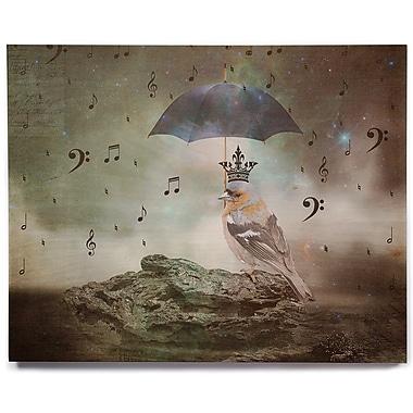 East Urban Home 'Umbrella Bird' Graphic Art Print on Wood; 16'' H x 20'' W x 1'' D