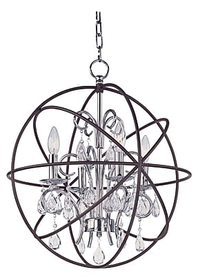 Willa Arlo Interiors Alden 4-Light Candle-Style Chandelier; Anthracite/Polished Nickel WYF078281181793