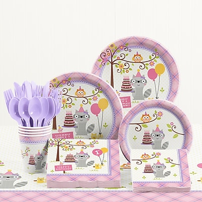 Creative Converting 81 Piece Happi Woodland Girl 1st Birthday Plastic/Paper Tableware Set WYF078281158236