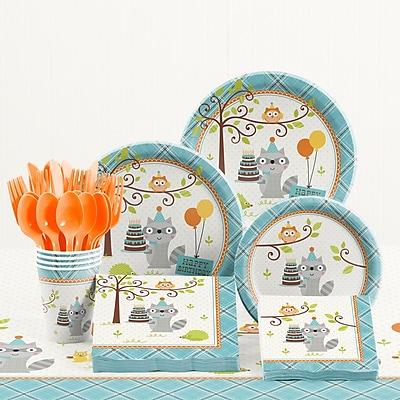 Creative Converting 81 Piece Happi Woodland Boy Birthday Plastic/PaperTableware Set WYF078281158237