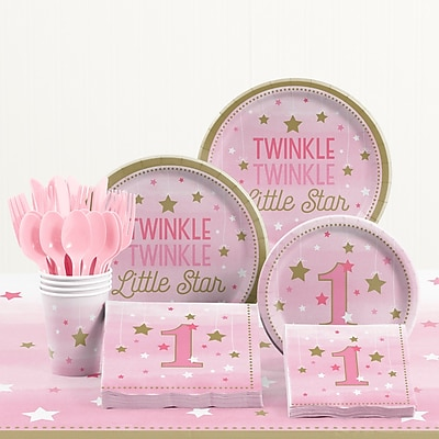 Creative Converting 81 Piece One Little Star Girl 1st Birthday Plastic/Paper Tableware Set WYF078281158240