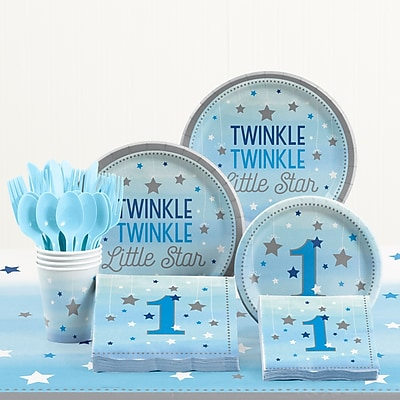 Creative Converting 81 Piece One Little Star Boy 1st Birthday Plastic/Paper Tableware Set WYF078281158242