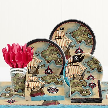 Creative Converting 81 Piece Pirate's Map Birthday Paper/Plastic Tableware Set