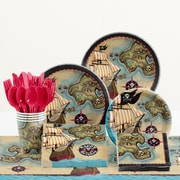 Creative Converting 81 Piece Pirate's Map Birthday Paper/Plastic Tableware Set