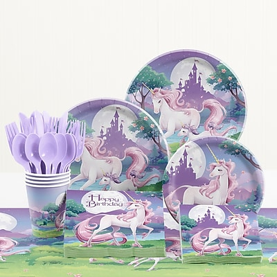 Creative Converting 81 Piece Unicorn Fantasy Birthday Paper/Plastic Tableware Set WYF078281158289