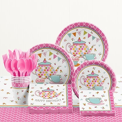 Creative Converting 81 Piece Tea Time Birthday Paper/Plastic Tableware Set WYF078281158291