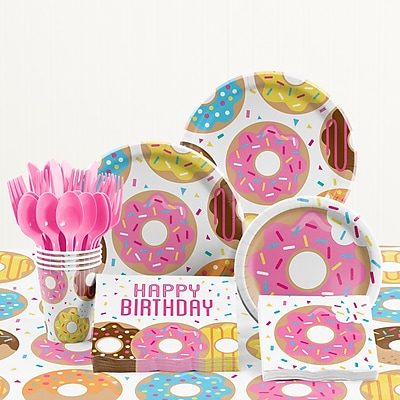 Creative Converting 81 Piece Donut Time Birthday Paper/Plastic Tableware Set WYF078281158286