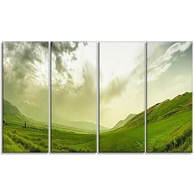 DesignArt 'Meadow Under Clouds Panorama' Photographic Print Multi-Piece Image on Canvas