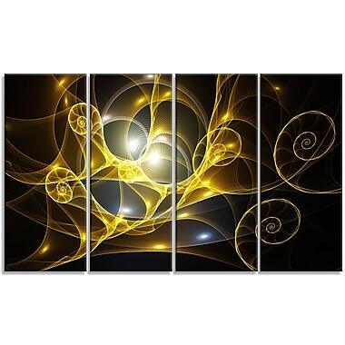DesignArt 'Golden Curly Spiral on Black' Graphic Art Print Multi-Piece Image on Canvas