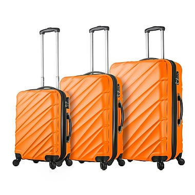 Hontus Mia Viaggi Italy – Ensemble de valises rigides à roulettes Lodi, 3 pièces, orange (V1015-03PC-ORG)