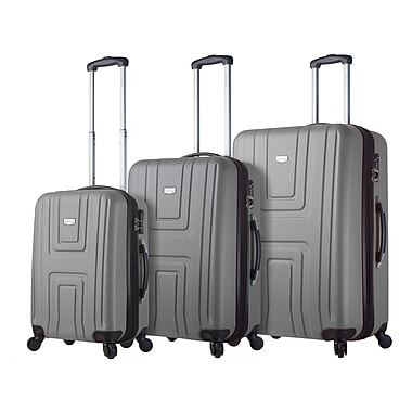 Mia Viaggi ITALY Ferrara Hardside Spinner Luggage Set, 3 Piece/Set, Silver (V1017-03PC-SLV)