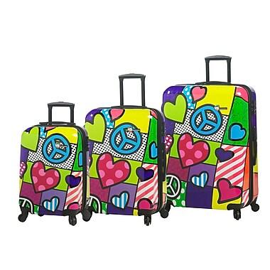 Mia Toro Italy – Ensemble de valises rigides à roulettes, 3 pièces, paix et amour (M1064-03PC-PCL)
