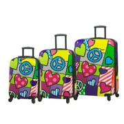 Mia Toro ITALY Peace and Love Hardside Spinner Luggage Set, 3 Piece/Set (M1064-03PC-PCL)