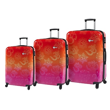 Mia Toro ITALY Love This Life-OM Hardside Spinner Luggage Set, 3 Piece/Set (M1090-03PC-LTL)