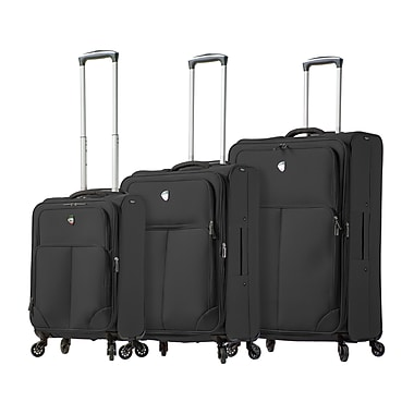 Mia Toro ITALY Leggero Softside Spinner Luggage Set, 3 Piece/Set, Black (M1116-03PC-BLK)