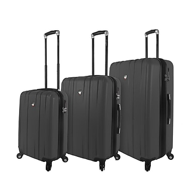 Mia Toro ITALY Mantouvani Hardside Spinner Luggage, 3 Piece/Set, Black (M1214-03PC-BLK)