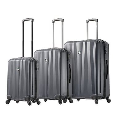 Mia Toro ITALY Pozzi Hardside Spinner Luggage, 3 Piece/Set, Silver (M1216-03PC-SLV)