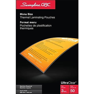 Swingline™ GBC® UltraClear™ 3mm Laminating Pouches, Menu, Clear, 50/Pack