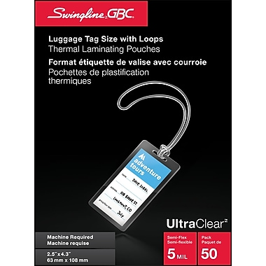 Swingline™ GBC® UltraClear™ 5mm Laminating Pouches, Luggage Tag w/ Loops, Clear, 50/Pack