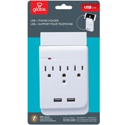 Globe Surge Protector Multi-Tap With 3 Outlets and 2 USB Charging Ports, White