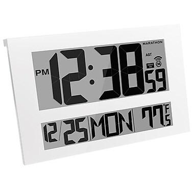Marathon - Horloge atomique numérique murale, gros écran, qualité commerciale, blanche (CL030025WH)