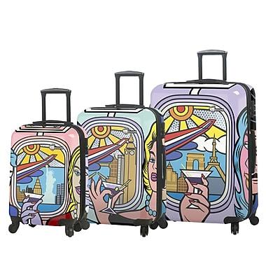 Mia Toro – Ensemble de 3 valises rigides à roulettes pivotantes Jozza Airplane de style italien (M1096-03PC-JZA)