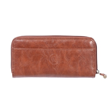 Club Rochelier Traditional Collection, Cognac Zip Around Clutch Wallet with Tab (4471-62-COG)