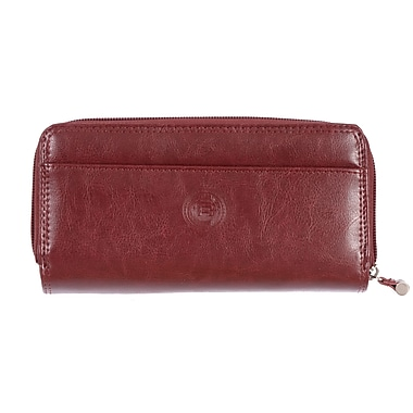 Club Rochelier Traditional Collection, Mahogany Zip Around Clutch Wallet with Tab (4471-62-MHGY)