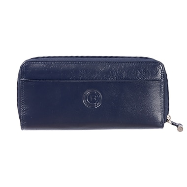 Club Rochelier Traditional Collection, Navy Zip Around Clutch Wallet with Tab (4471-62-NAVY)