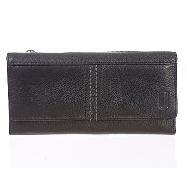 Club Rochelier Kiss and Say Goodbye Collection, Black Leather Slim Clutch Wallet (CL3471-S1-BLK)