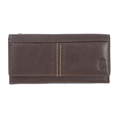 Club Rochelier Kiss and Say Goodbye Collection, Brown Leather Slim Clutch Wallet (CL3471-S1-BRN)