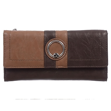 Club Rochelier Ruby Collection, Brown/Tan Slim Clutch Wallet (CL5371-S1-BR/T)