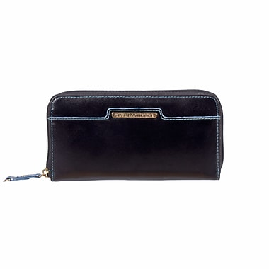 Club Rochelier Sephora Collection, Black/Teal Leather Zippered Round Clutch (CL7571-9-BLK/TL)