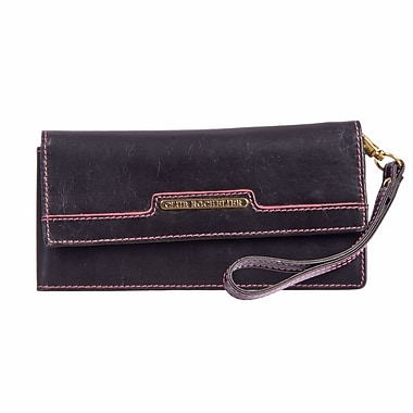 Club Rochelier Sephora Collection, Black/Pink Leather Wristlet Clutch (CL7572-24-BK/PK)