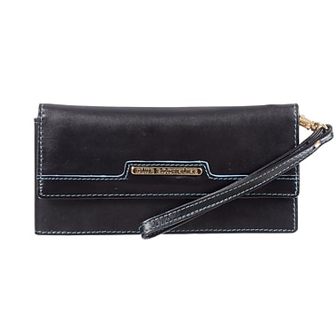Club Rochelier Sephora Collection, Black/Teal Leather Wristlet Clutch (CL7572-24-BK/TL)