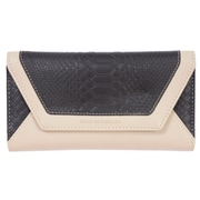 Club Rochelier Fallon Collection, Black/Cream Slim Clutch with Metal Frame (CL9077-9F-BK/CR)