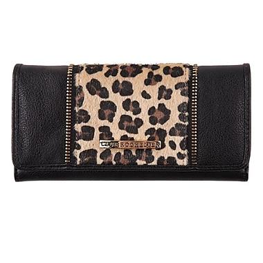 Club Rochelier Amy Collection, Black/Leopard Slim Clutch Wallet (CL9571-S1-BK/LP)