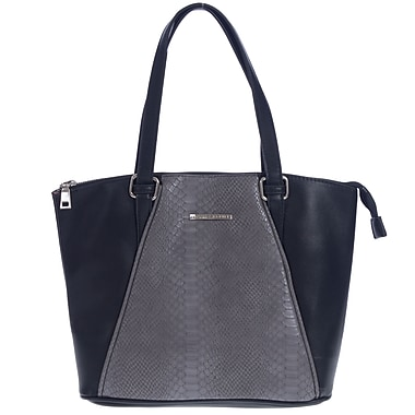 Club Rochelier Python V Collection, Midnight Large Top Zip Tote (CR168-MIDNIGHT)