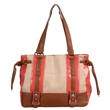 Club Rochelier Hannah Collection, Beige/Coral Straw/PU Tote with Buckles (CR500-BG/CL)
