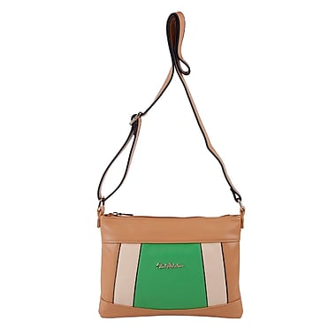 Club Rochelier Laurel Collection, Taupe/Green Panelled Crossbody Bag (CR533-TA/GRN)