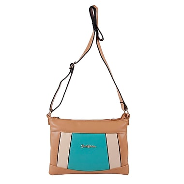 Club Rochelier Laurel Collection, Taupe/Teal Panelled Crossbody Bag (CR533-TA/TL)