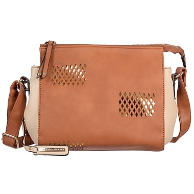 Club Rochelier Elsa Collection, Tan Perforated Two-Tone Crossbody (CR702-TAN)