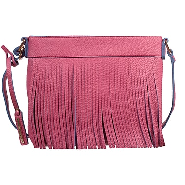 Club Rochelier Ava Collection, Pink Fringe Colour Pop Crossbody Bag (CR704-PINK)